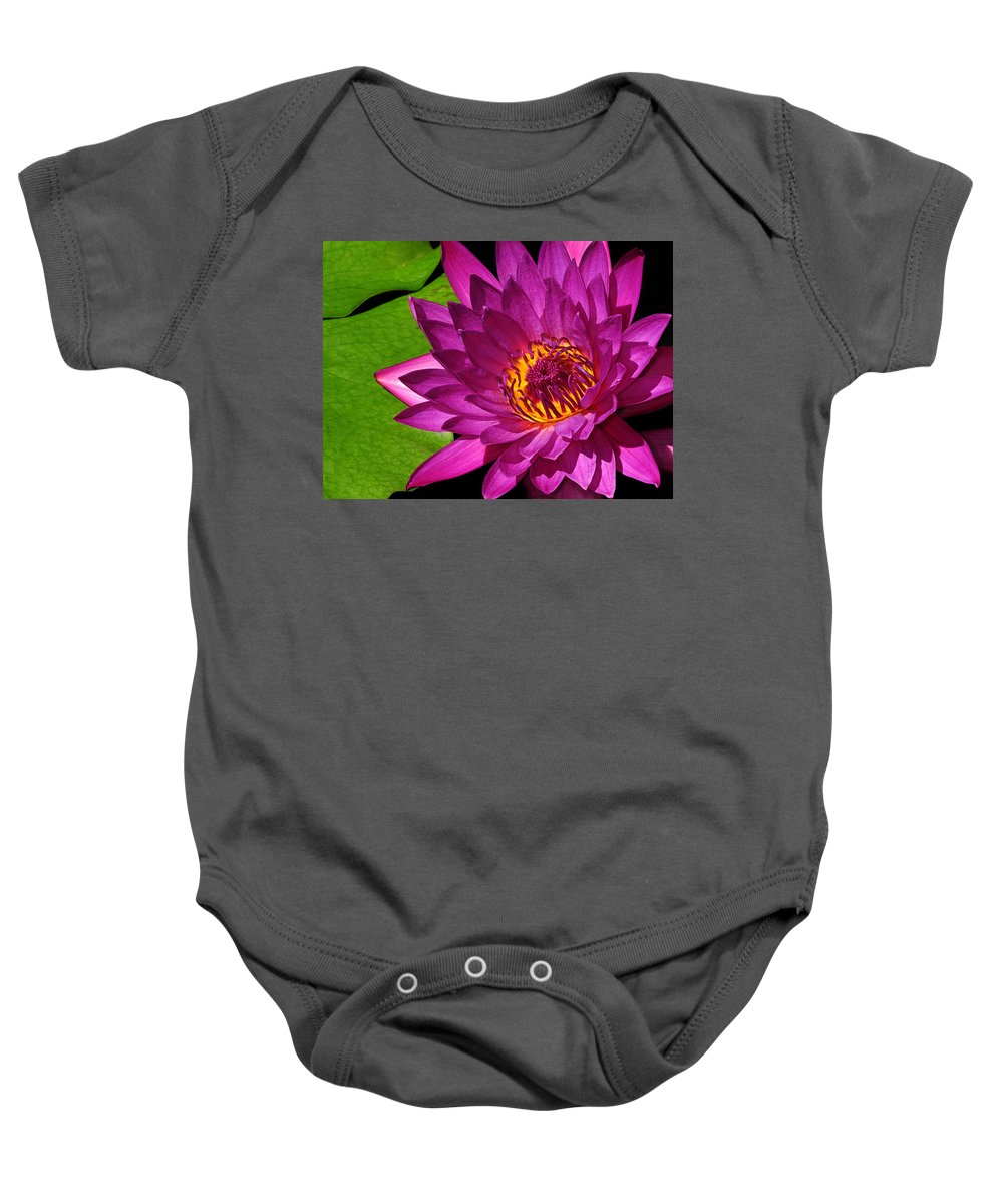 Magenta Baby Onesie featuring the photograph Magenta Waterlily by Dave Mills