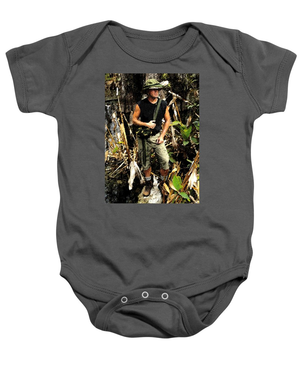 Art Baby Onesie featuring the painting Man In The Wilderness by David Lee Thompson