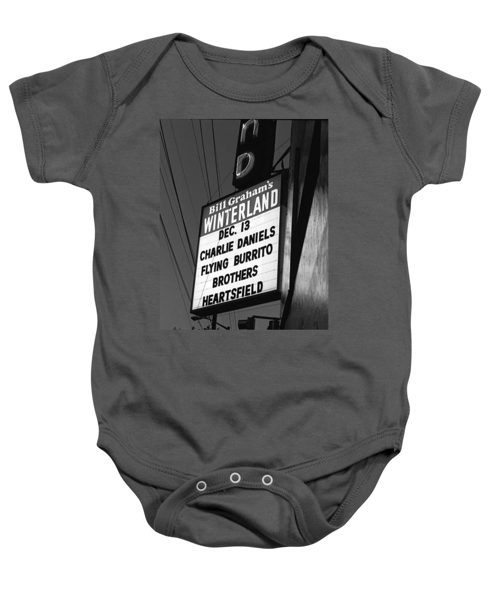 Winterland Baby Onesie featuring the photograph Marquee At Winterland In Late 1975 by Ben Upham III