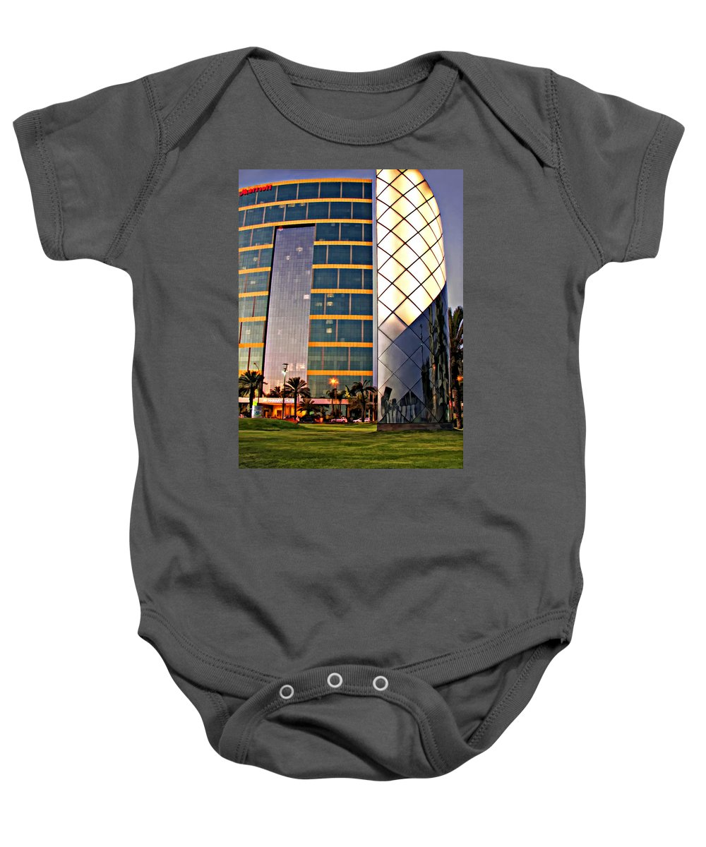Reflection Baby Onesie featuring the photograph Marriott Evening by Steve Harrington