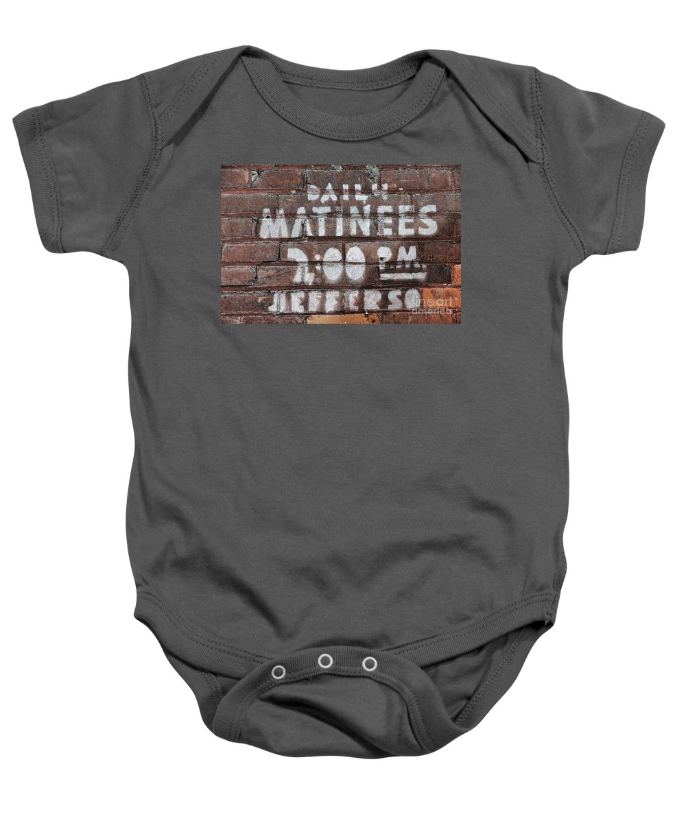 Sign Baby Onesie featuring the photograph Matinees by David Arment