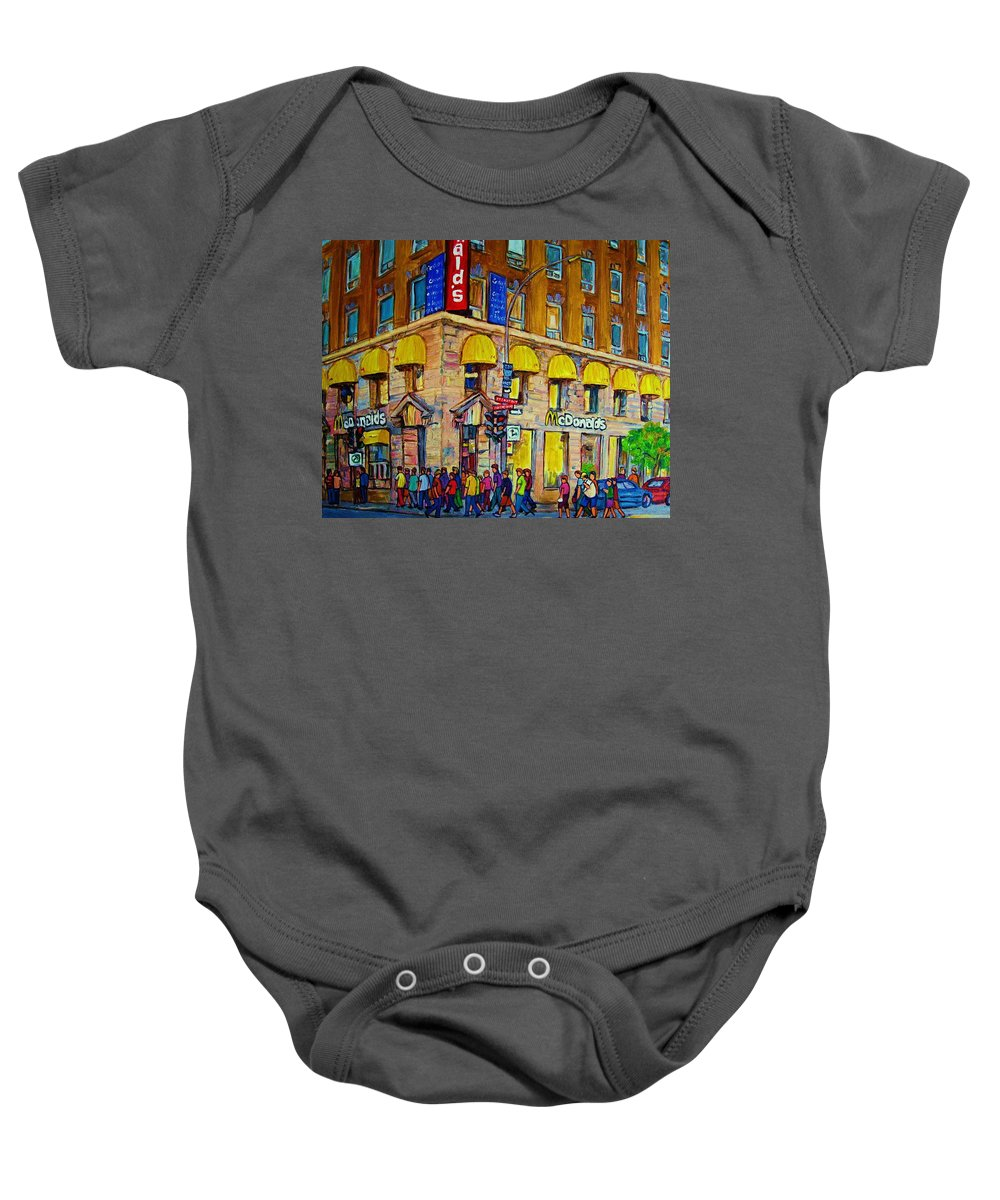 Mcdonald Restaurant Montreal Baby Onesie featuring the painting Mcdonald by Carole Spandau