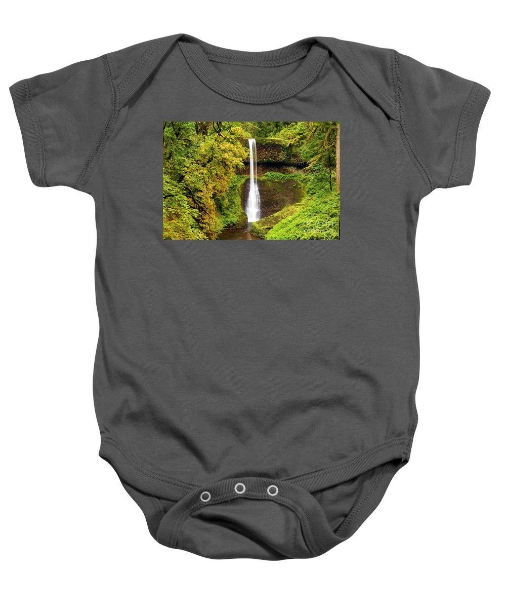 Silver Falls Baby Onesie featuring the photograph Middle North Falls by Adam Jewell