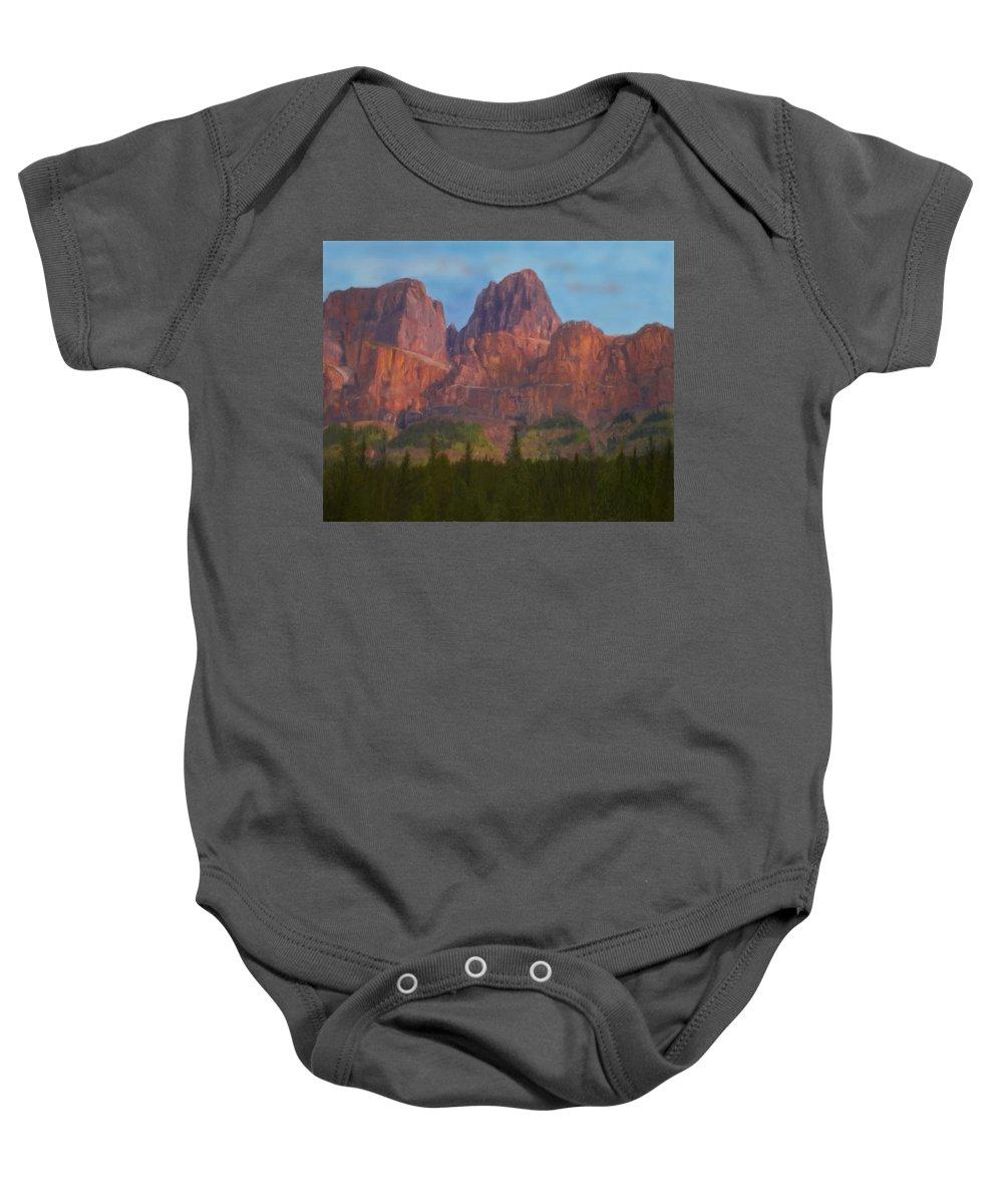 Nature Baby Onesie featuring the digital art Mighty Mountains by Jo-Anne Gazo-McKim