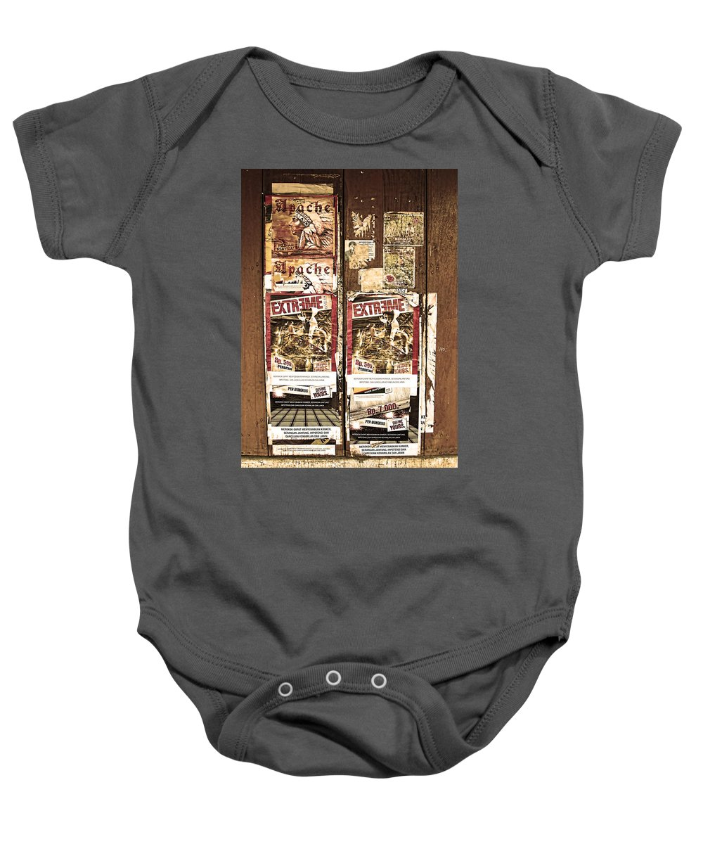Advertisement Baby Onesie featuring the photograph Minahasa Village Signage Sepiad by Mark Sellers