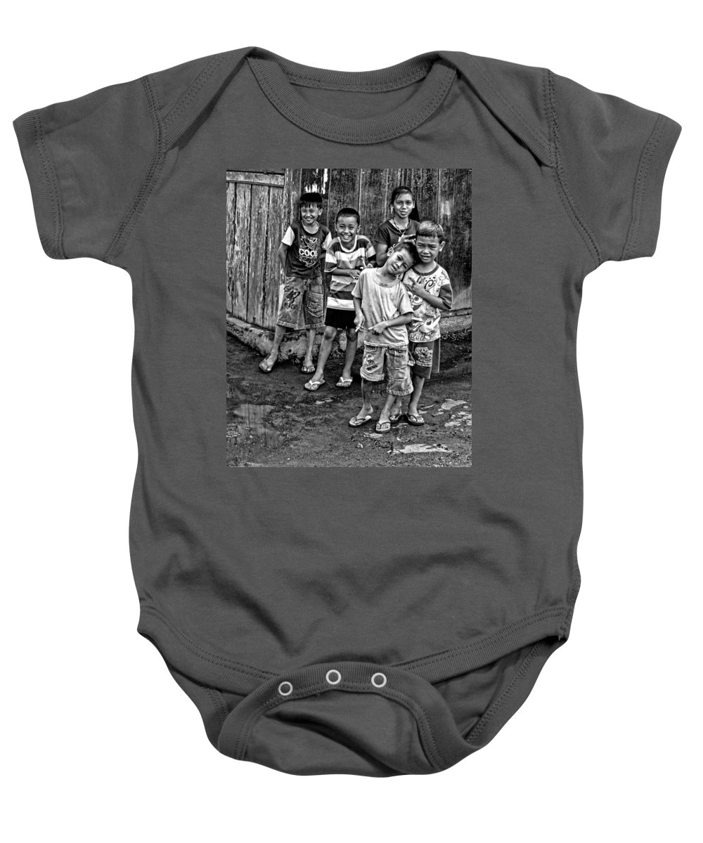 Asia Baby Onesie featuring the photograph Minehasa Expressions Bw by Mark Sellers