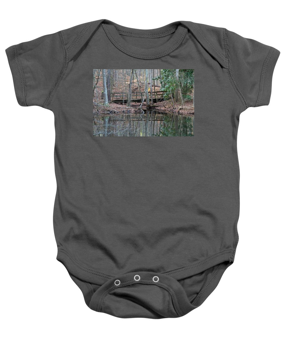 Water Baby Onesie featuring the photograph Mirrored Bridge by David Campbell