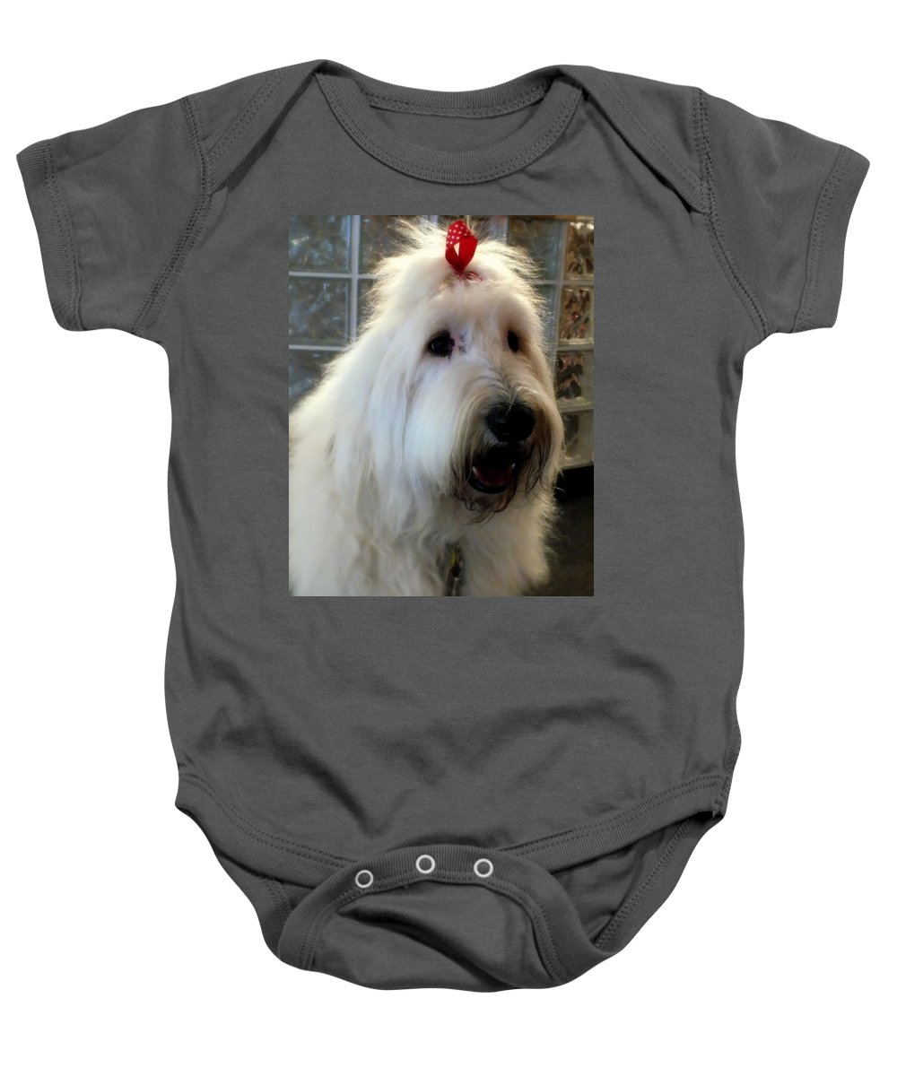 Dogs Baby Onesie featuring the photograph Miss Daisy May by Karen Wiles