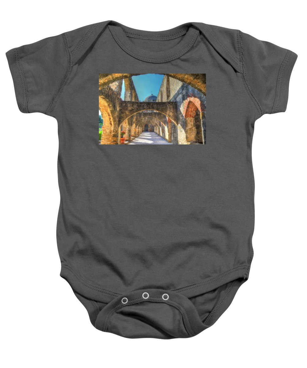 San Jose Mission Baby Onesie featuring the photograph Mission Arches by David Morefield