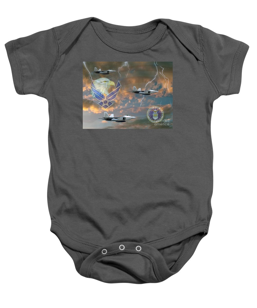 U.s. Military Baby Onesie featuring the photograph Mission First by Ken Frischkorn