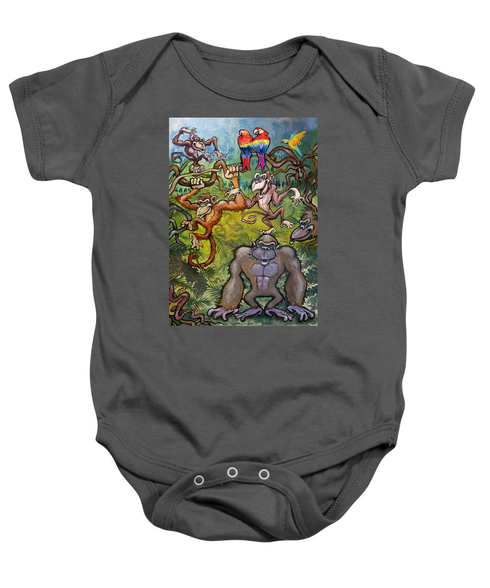 Monkey Baby Onesie featuring the painting Monkeying Around by Kevin Middleton