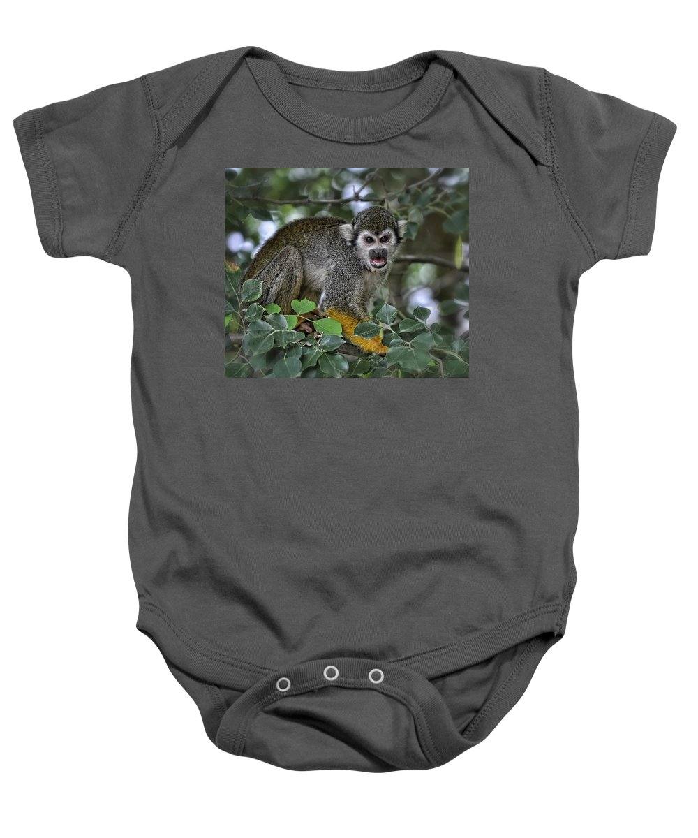 Squirrel Monkey Baby Onesie featuring the photograph Monkeying Around by Saija Lehtonen