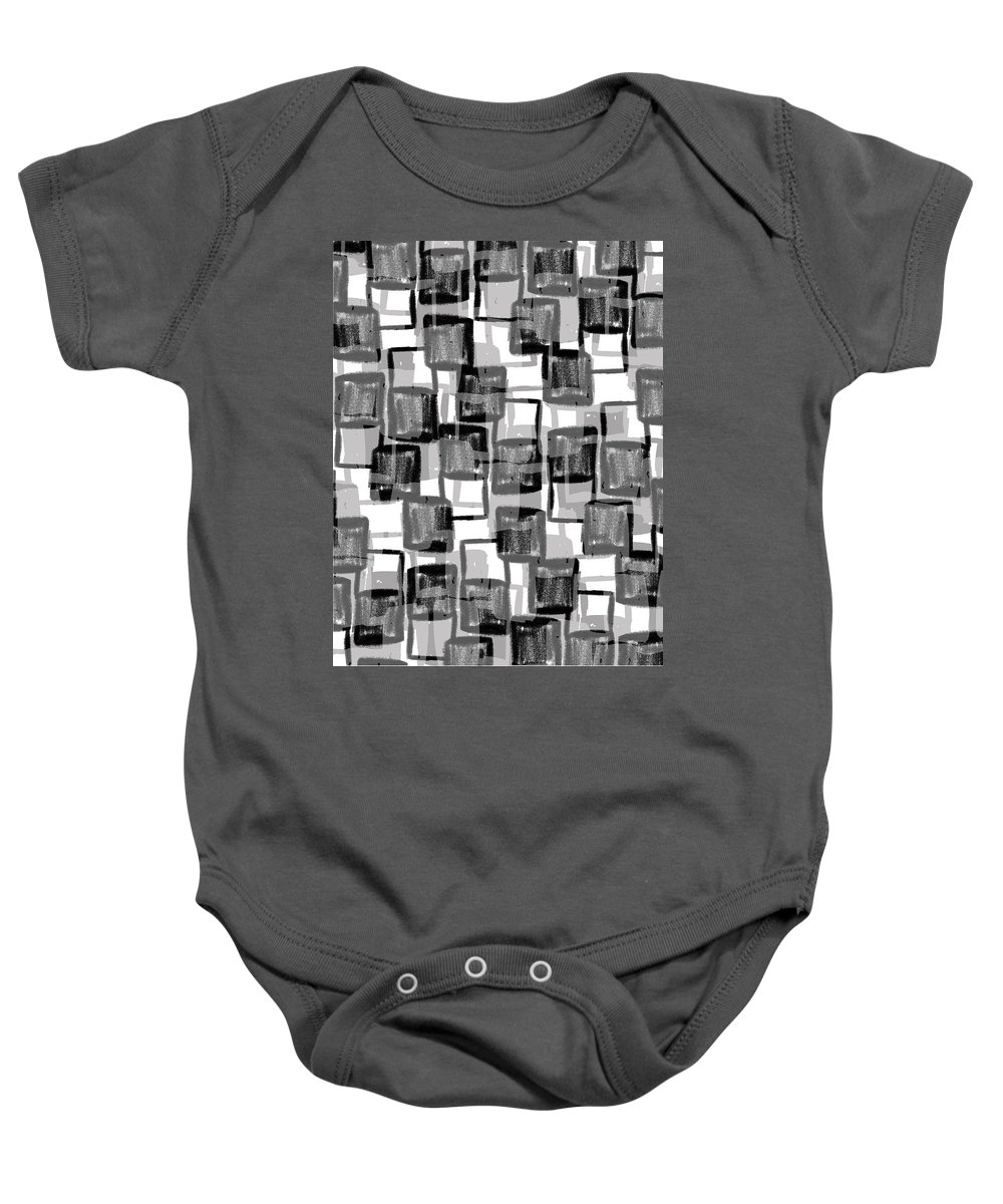 Monochrome Squares (digital) By Louisa Knight (contemporary Artist) Baby Onesie featuring the photograph Monochrome Squares by Louisa Knight