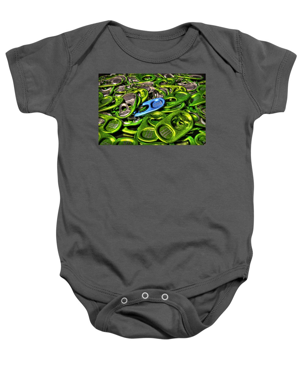 Baby Onesie featuring the photograph Monster Can Tabs Detroit Mi by Nicholas Grunas