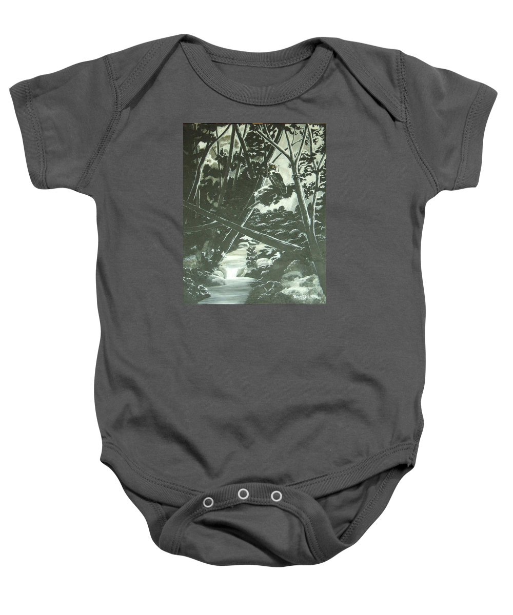 Oil Painting Baby Onesie featuring the painting Moonlight Shadows by Brandy House