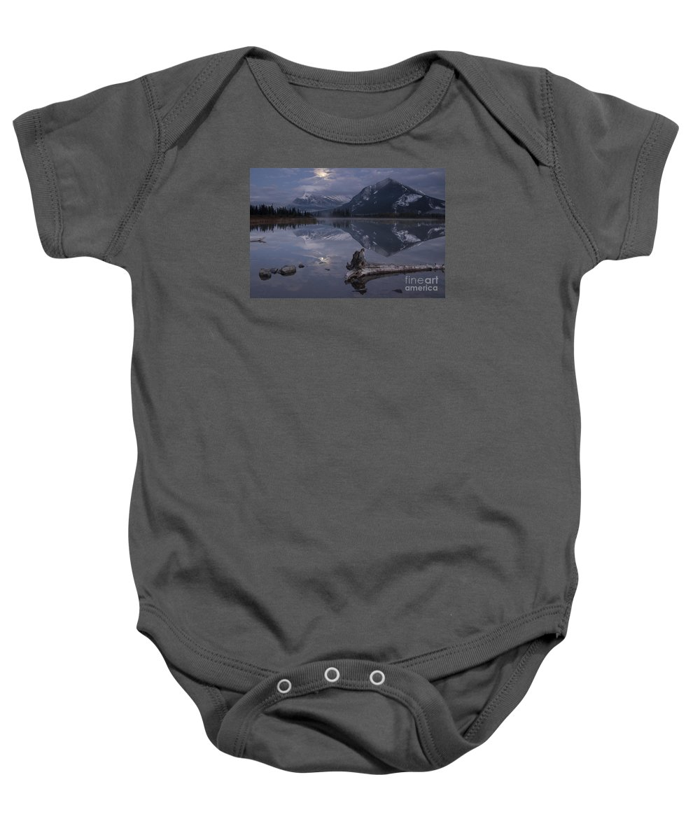 Stars Photography Baby Onesie featuring the photograph Moonrise Over Banff by Keith Kapple