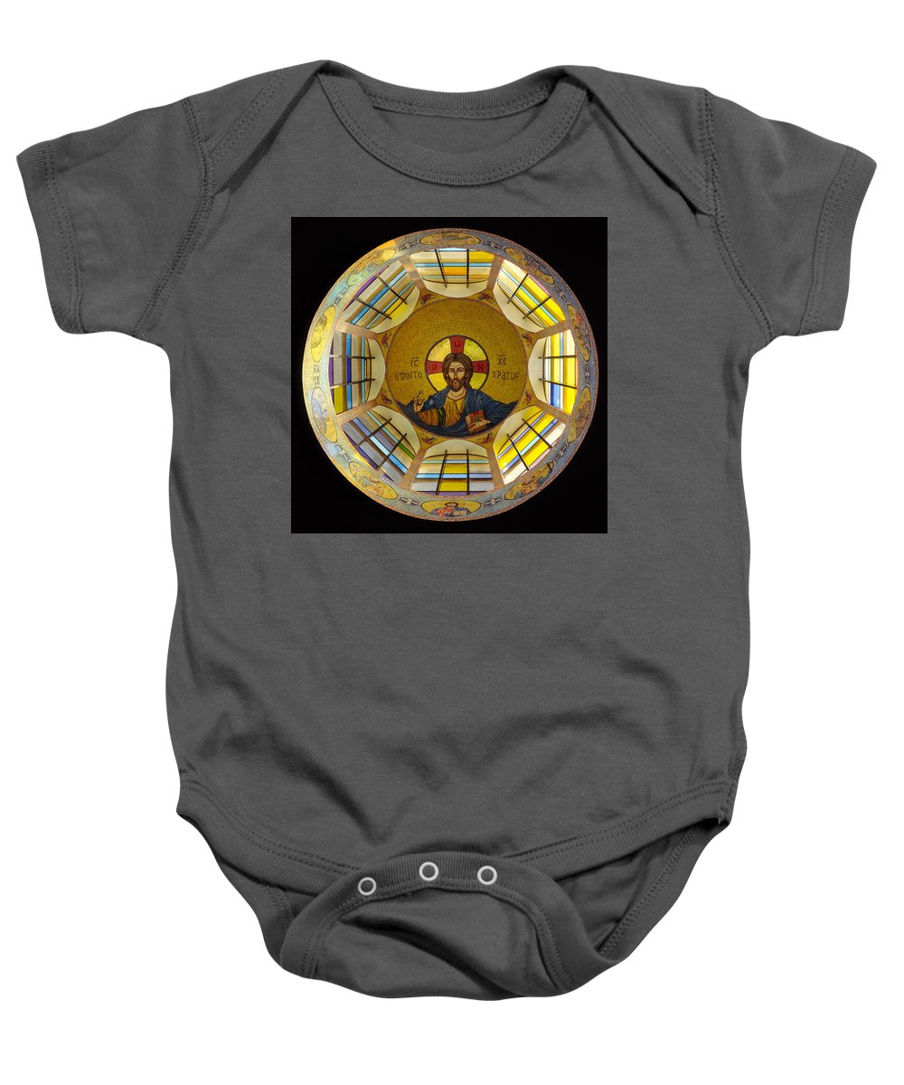 Christ Mosaic On Ceiling Of St Demetrios Greek Orthodox Baby Onesie featuring the photograph Mosaic Christ by Mike Penney