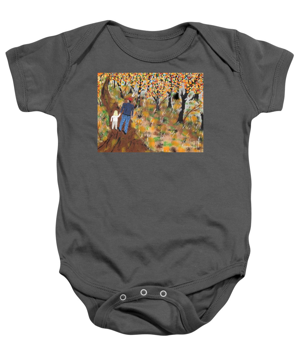 Autumn Baby Onesie featuring the painting Mosscreek Trail by Jeffrey Koss