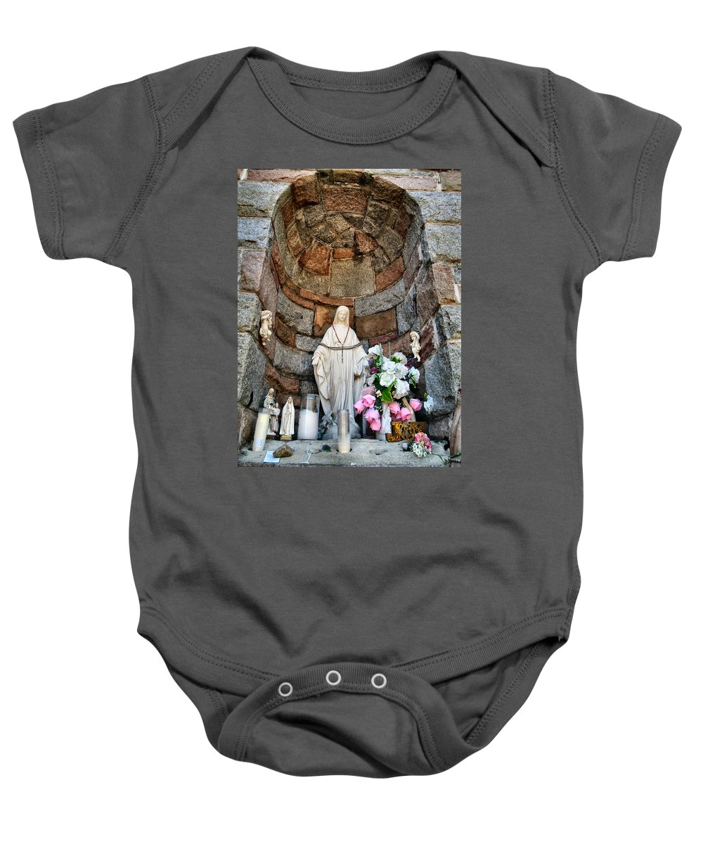 Shrine Baby Onesie featuring the photograph Mother Mary 2 by Art Dingo