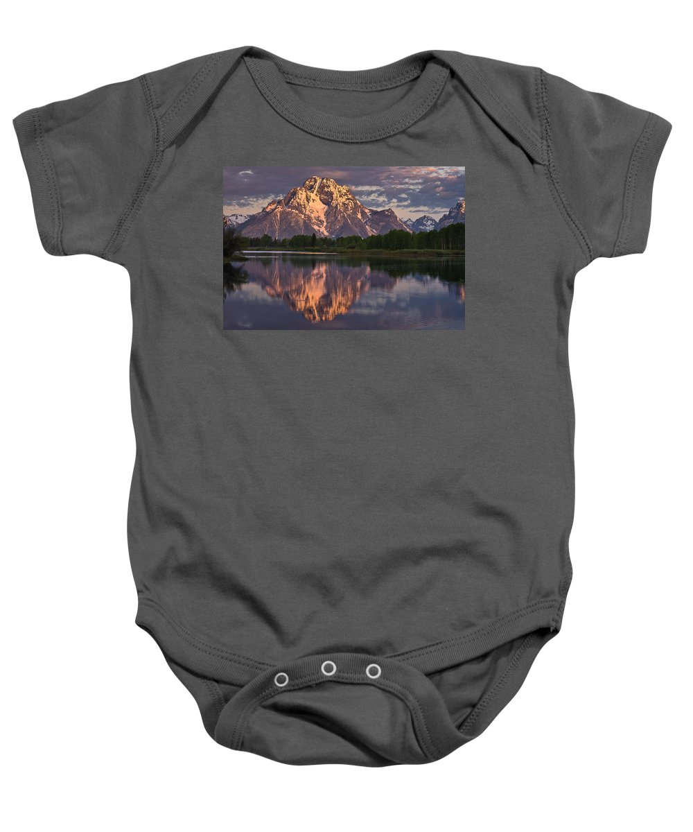 Mount Moran Baby Onesie featuring the photograph Mount Moran At Sunrise by Greg Nyquist