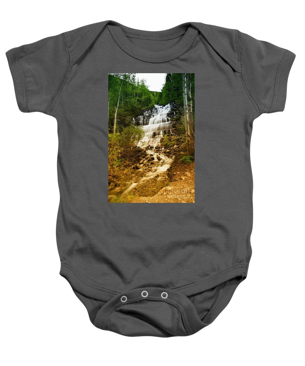 Waterfall Baby Onesie featuring the photograph Mountain Waterfall by Jeff Swan