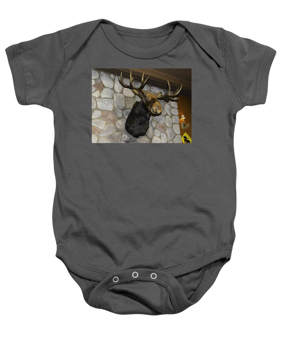 Usa Baby Onesie featuring the photograph Mounted Moose by LeeAnn McLaneGoetz McLaneGoetzStudioLLCcom
