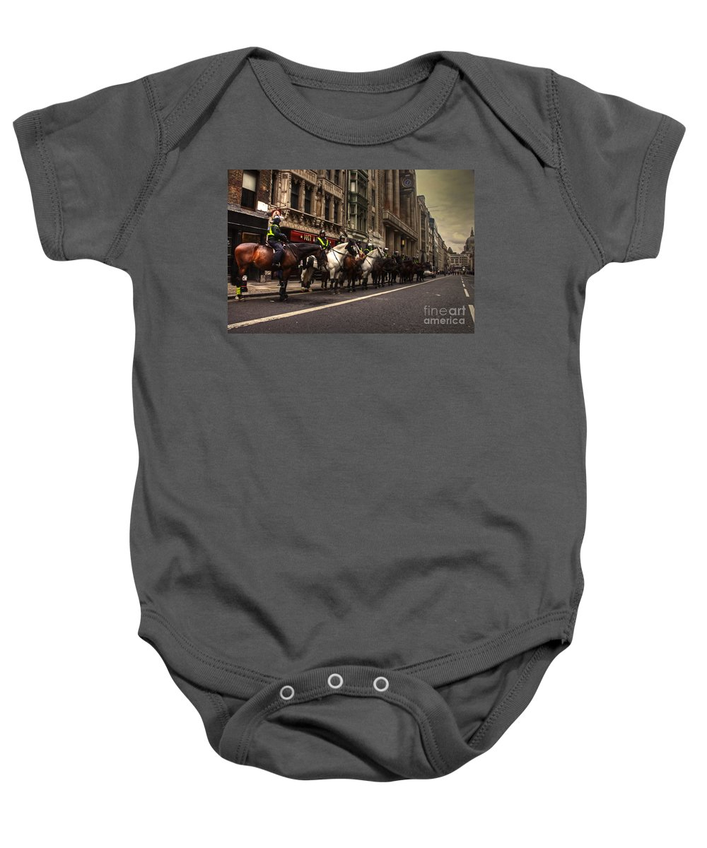 Mounted Baby Onesie featuring the photograph Mounted Police by Rob Hawkins