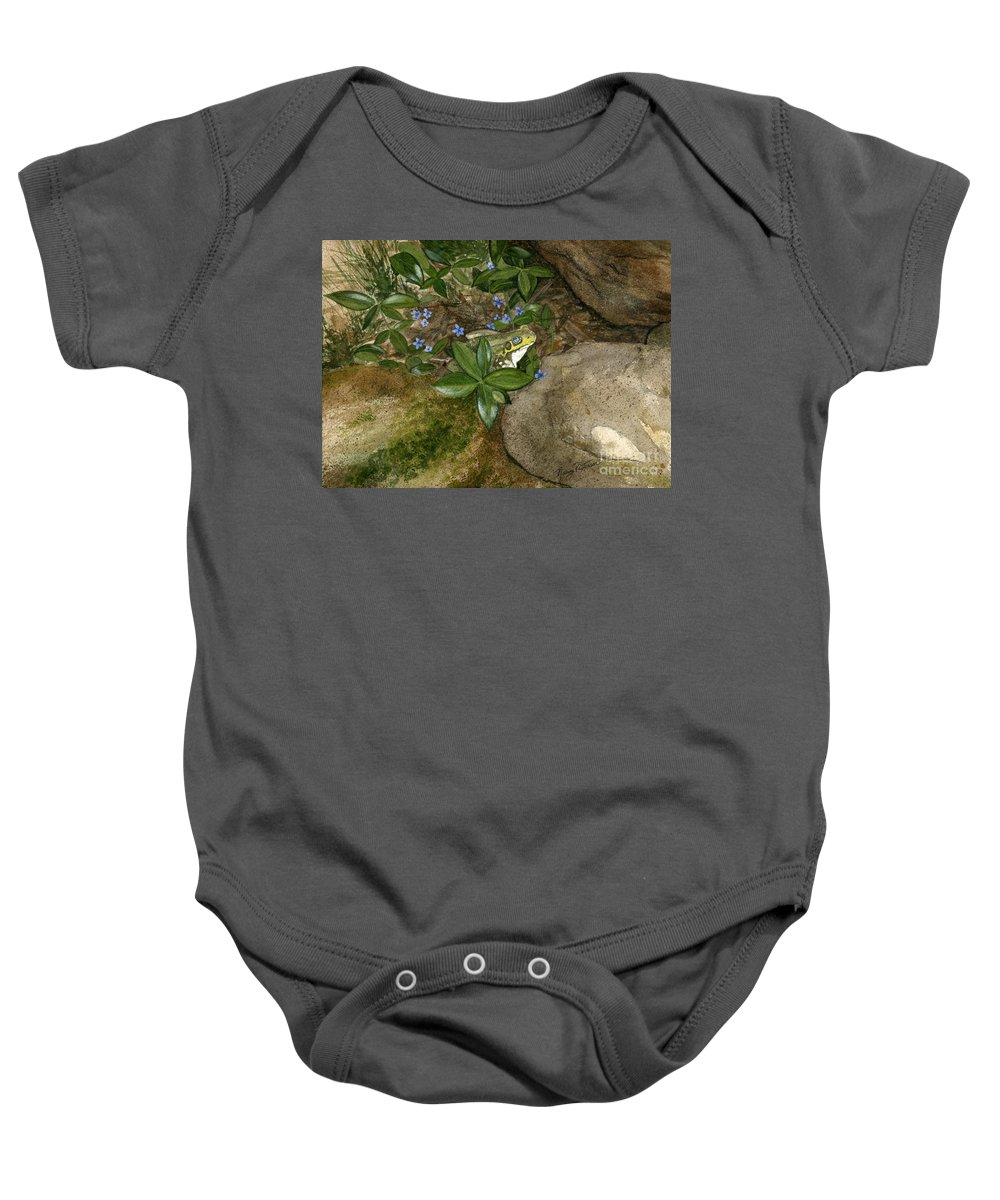 Frog Baby Onesie featuring the painting Mr. Frog by Nancy Patterson