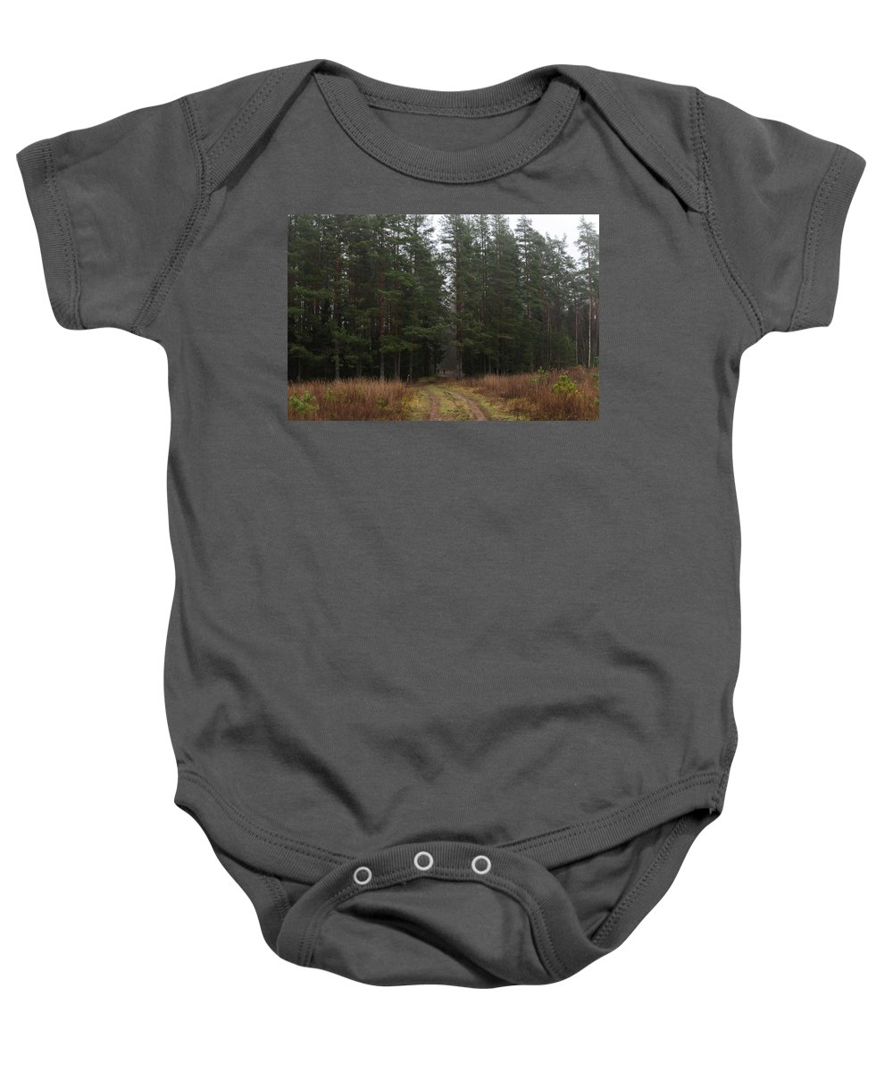 Forest Baby Onesie featuring the photograph Mushroom Pickers by Michael Goyberg