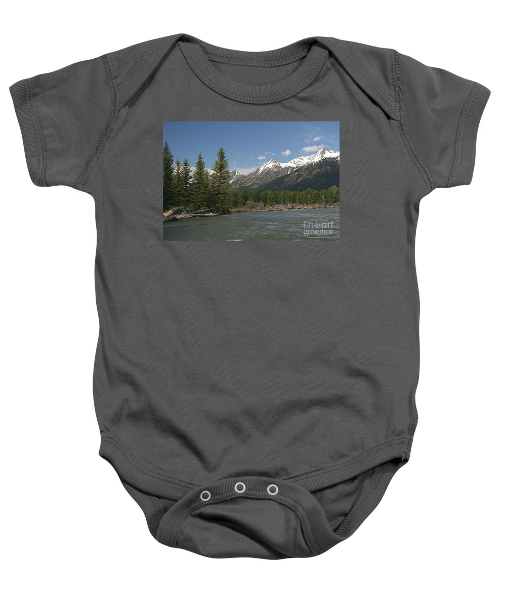 Grand Tetons Baby Onesie featuring the photograph My Favorite Of The Grand Tetons by Living Color Photography Lorraine Lynch
