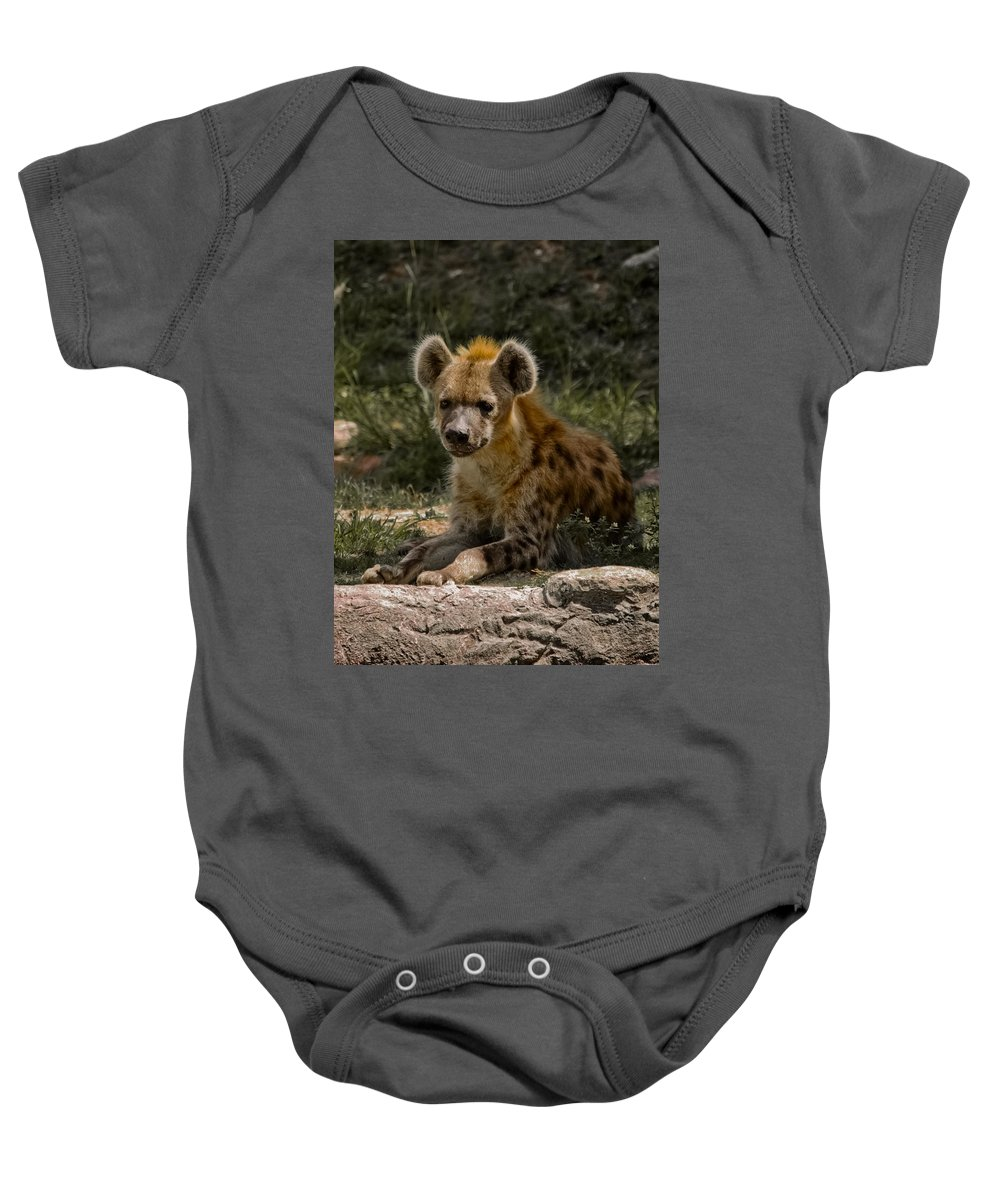 Spotted Hyena Baby Onesie featuring the photograph My Friends Call Me Spike by DigiArt Diaries by Vicky B Fuller