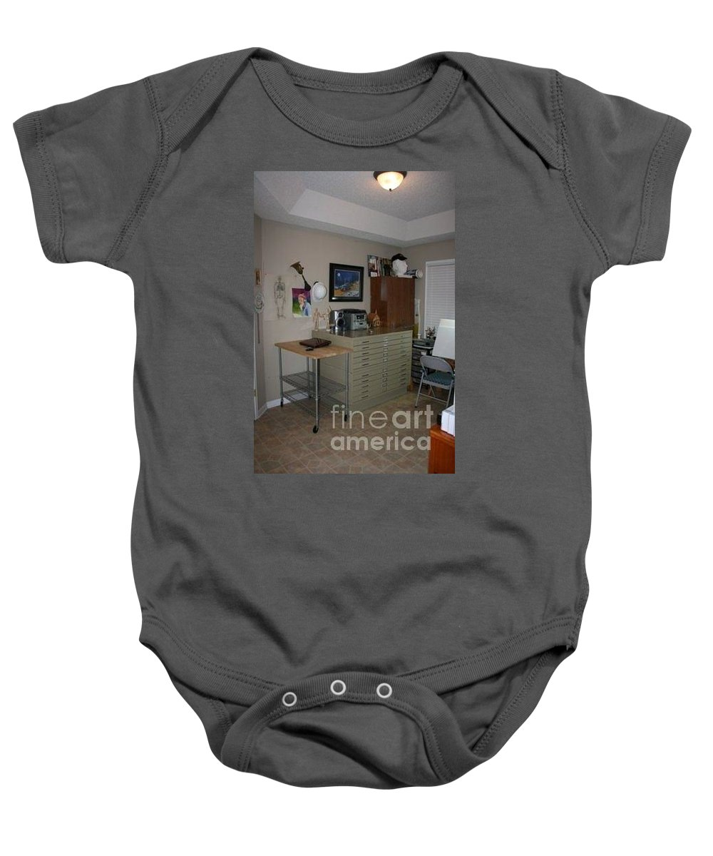 Stacy Bottoms Baby Onesie featuring the photograph My Painting Studio by Stacy C Bottoms