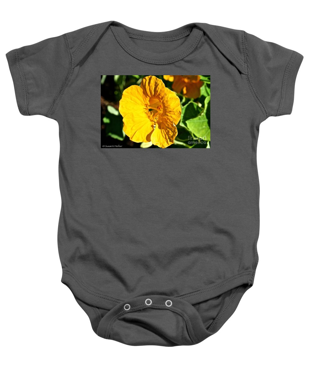 Plant Baby Onesie featuring the photograph Nasturium In Yellow by Susan Herber