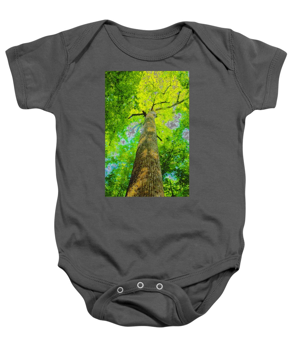 Art Baby Onesie featuring the painting Natures Skyscraper by David Lee Thompson