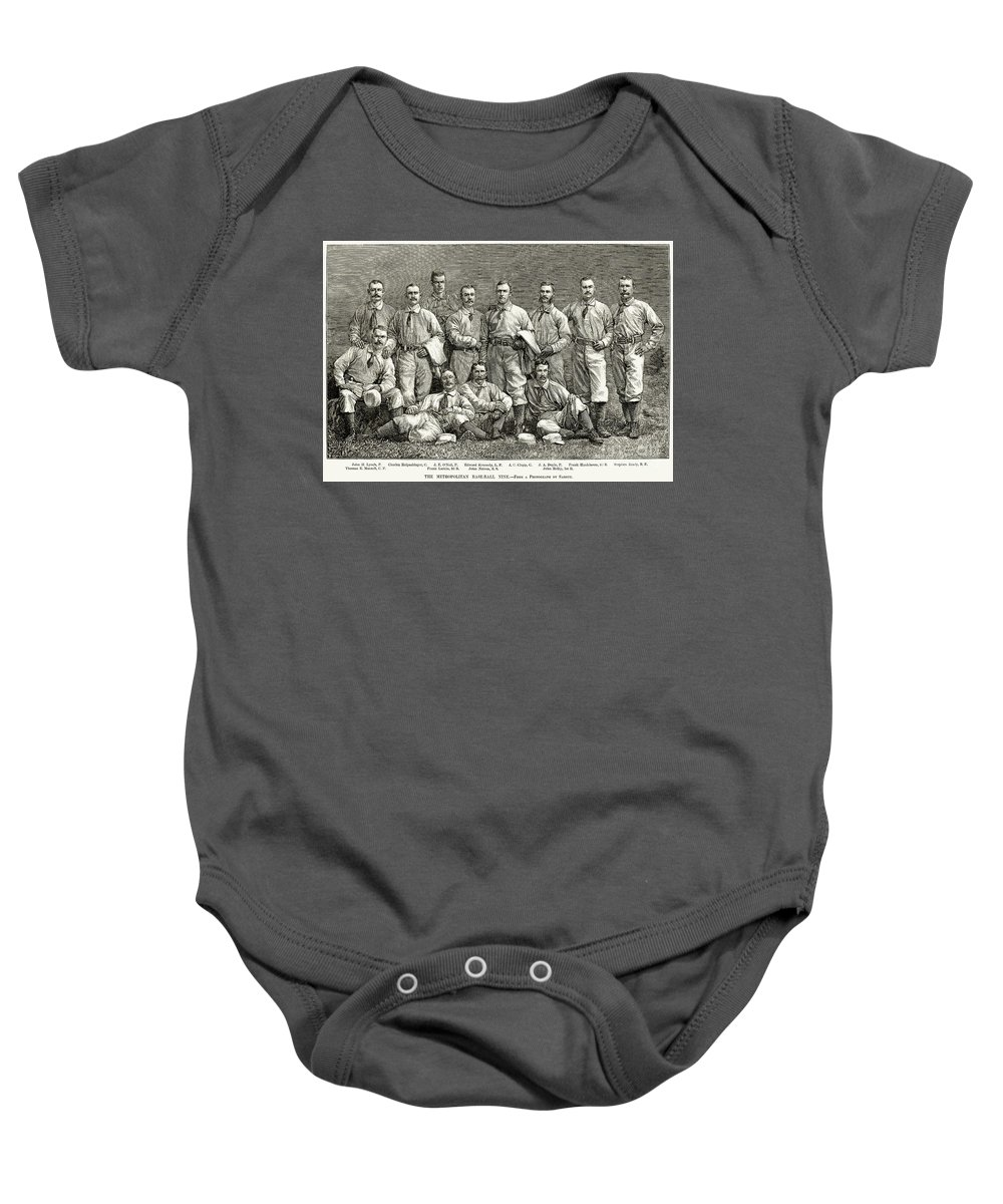 19th Century Baby Onesie featuring the photograph New York Baseball Team by Granger