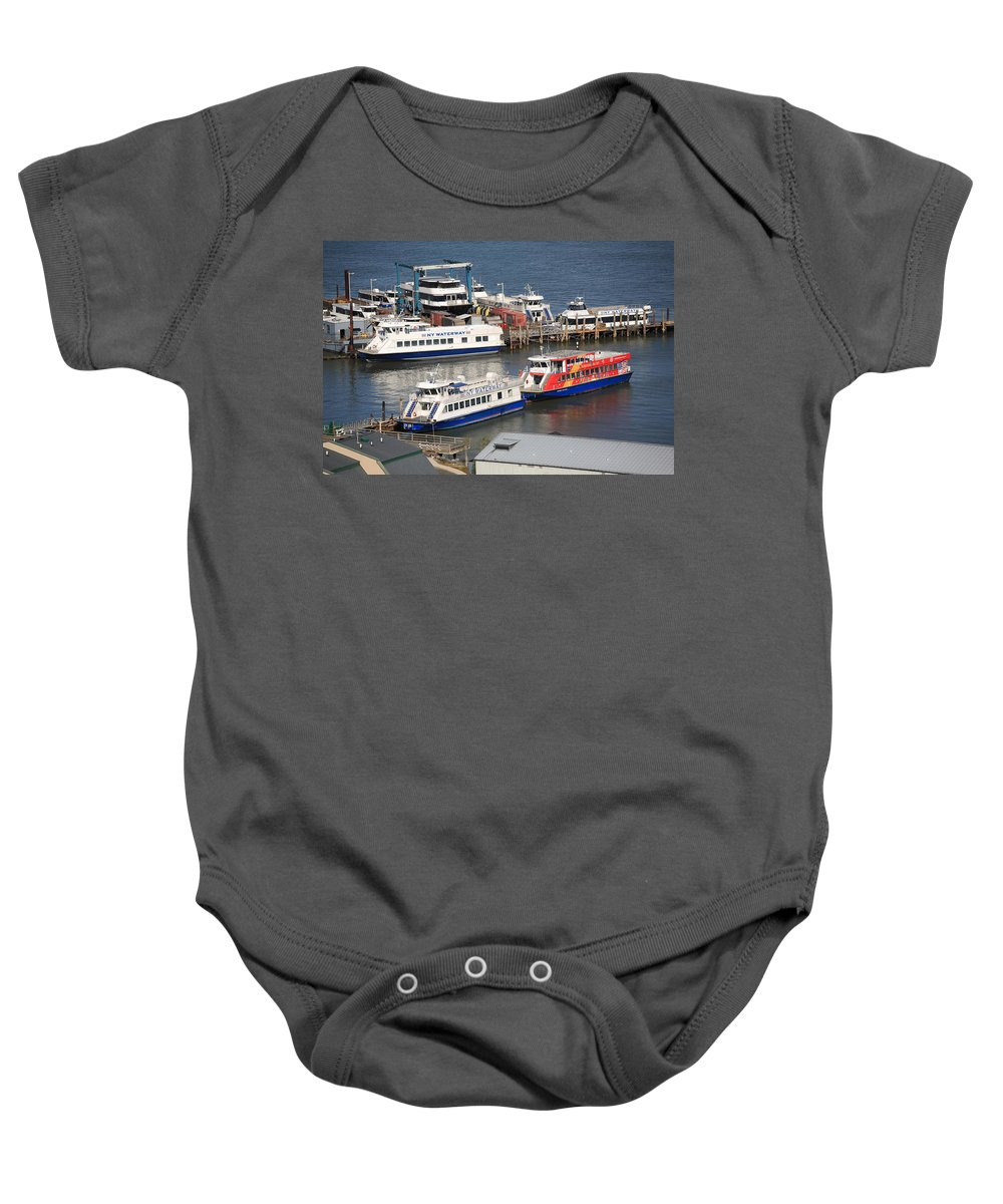 America Baby Onesie featuring the photograph New York City Sightseeing Boats by Frank Romeo