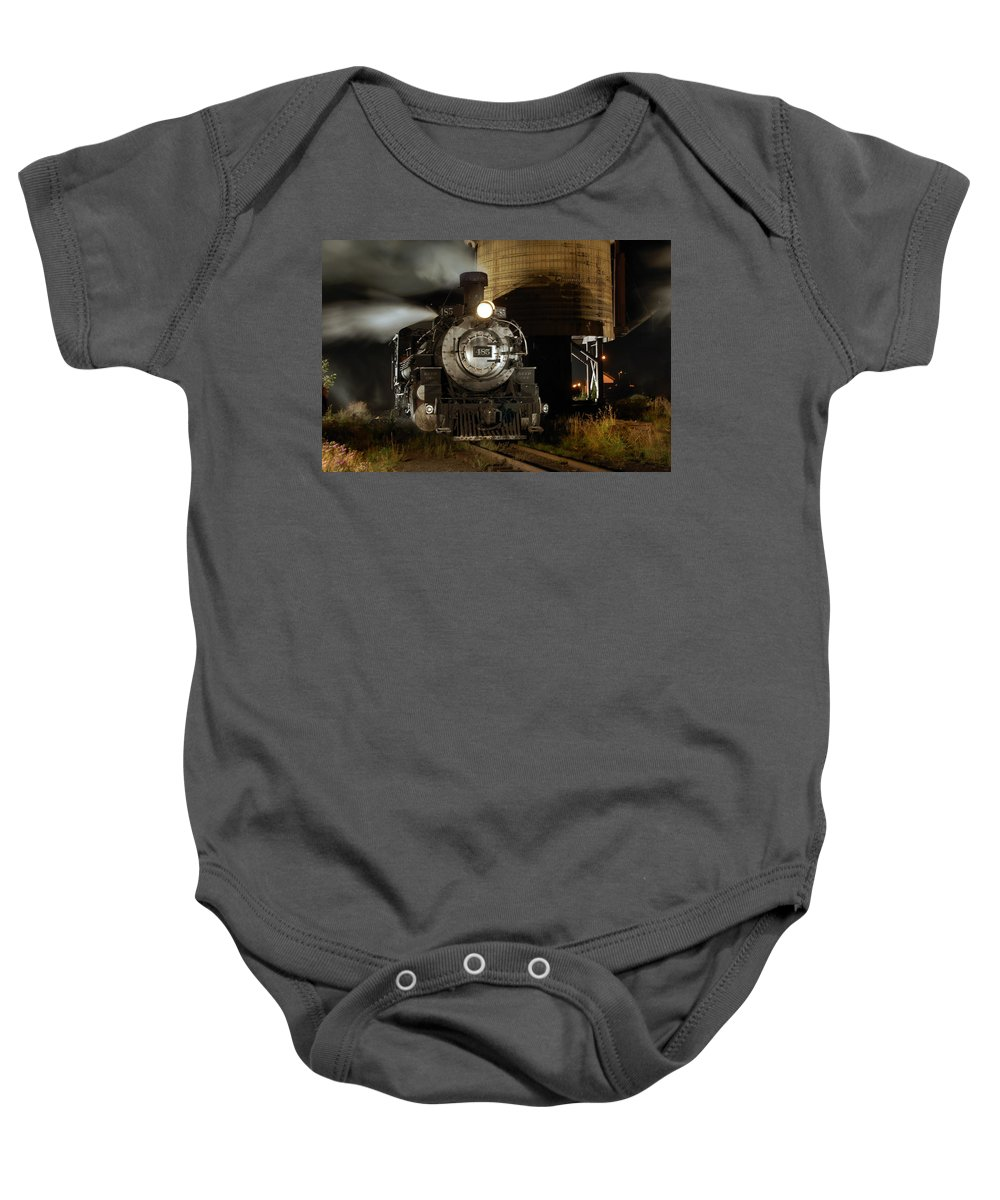 Steam Train Photographs Baby Onesie featuring the photograph Night At The Water Tower by Ken Smith