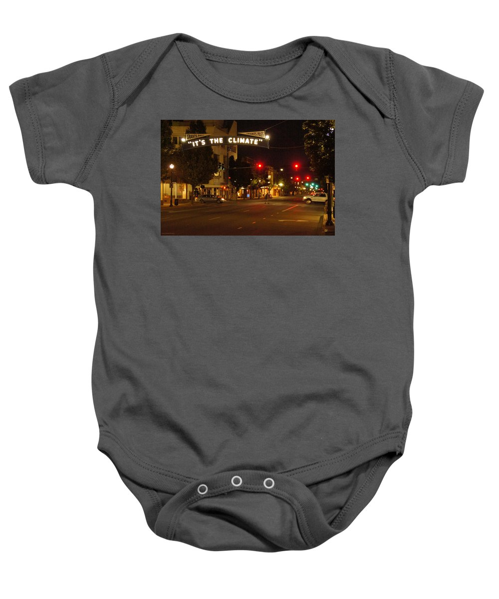 6th Baby Onesie featuring the photograph Night Scene At 6th And G by Mick Anderson
