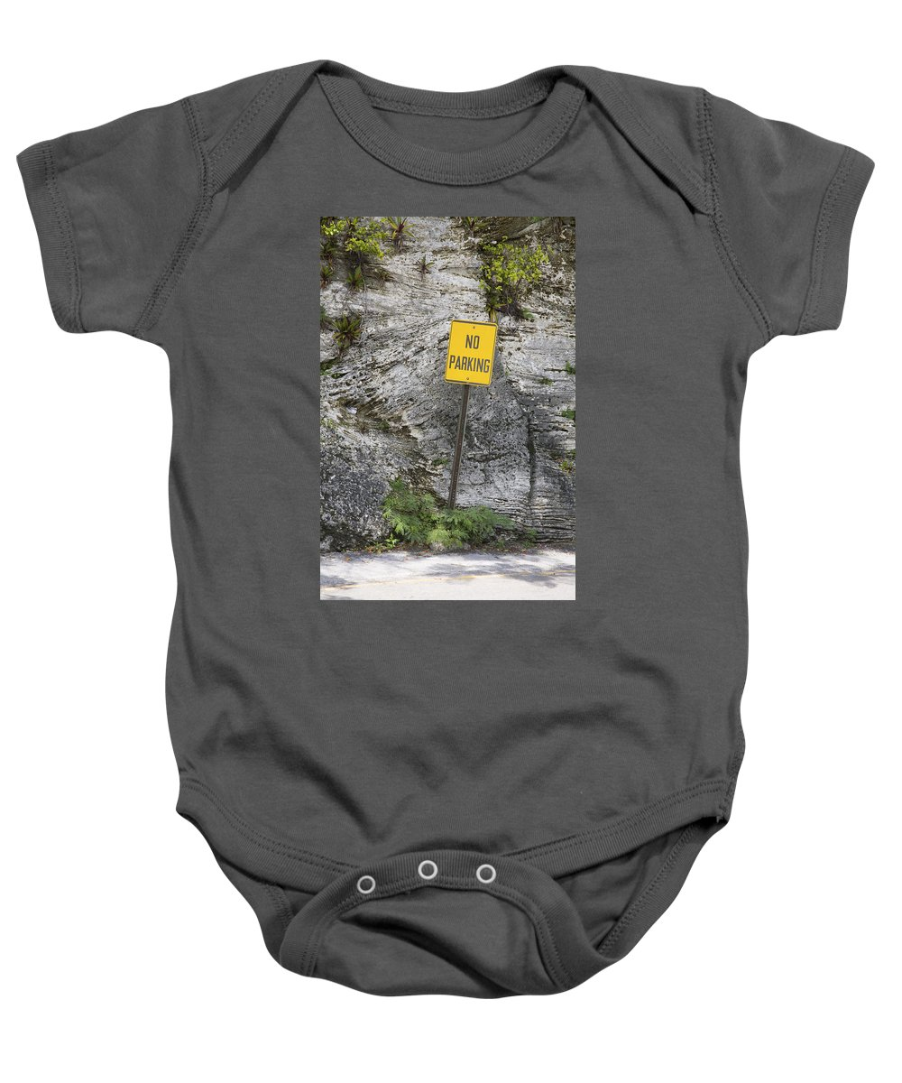 Absence Baby Onesie featuring the photograph No Parking by Diane Macdonald