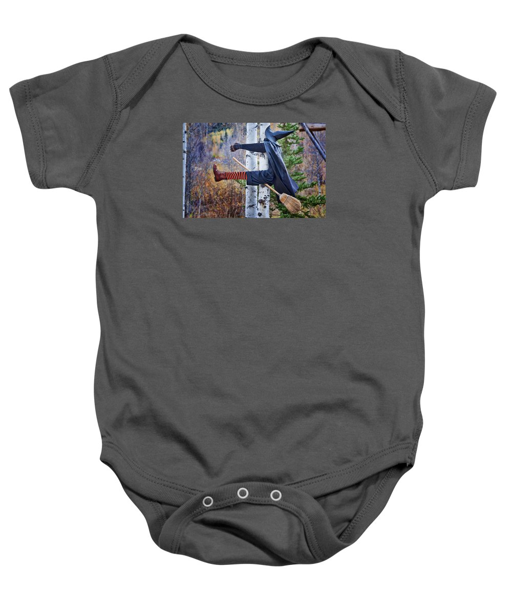 Holiday Baby Onesie featuring the photograph No Texting While Flying by Joan Carroll