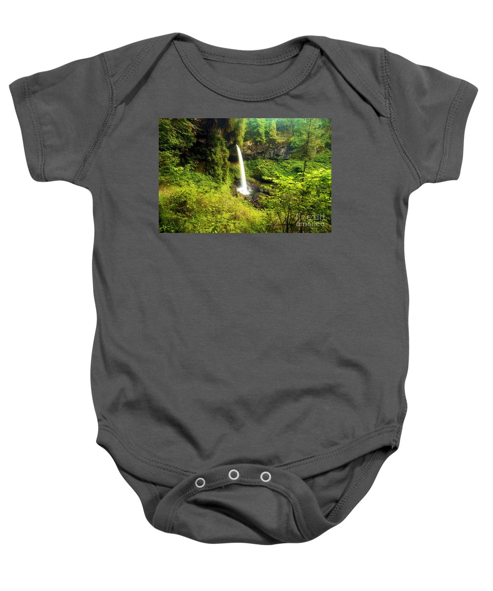 Silver Falls State Park Baby Onesie featuring the photograph North Falls by Adam Jewell