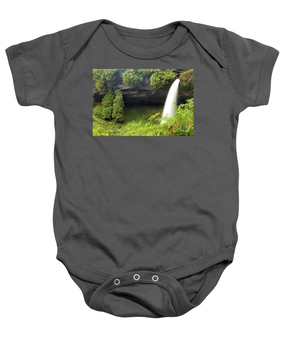 North Falls Baby Onesie featuring the photograph North Falls At Silver Falls by Adam Jewell