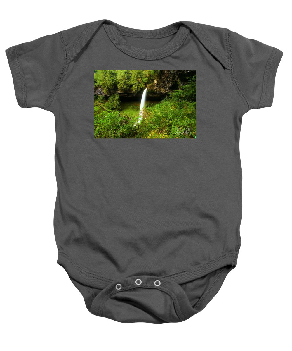 Silver Falls State Park Baby Onesie featuring the photograph North Falls Canyon by Adam Jewell
