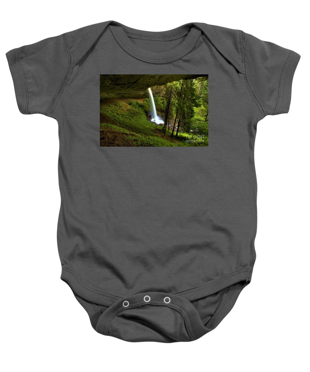 Silver Falls State Park Baby Onesie featuring the photograph North Falls Cavern by Adam Jewell