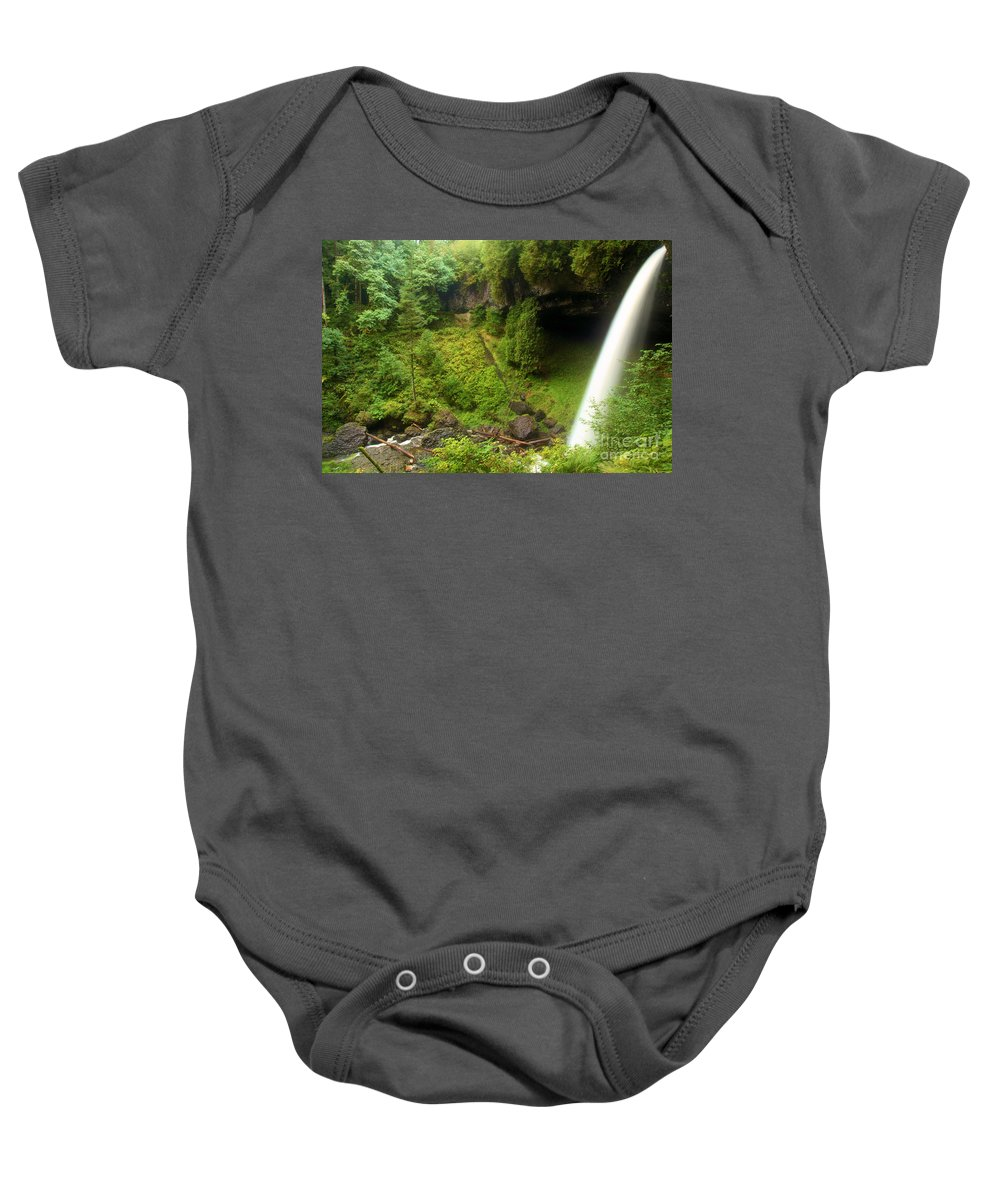 North Falls Baby Onesie featuring the photograph North Falls Waterfall by Adam Jewell