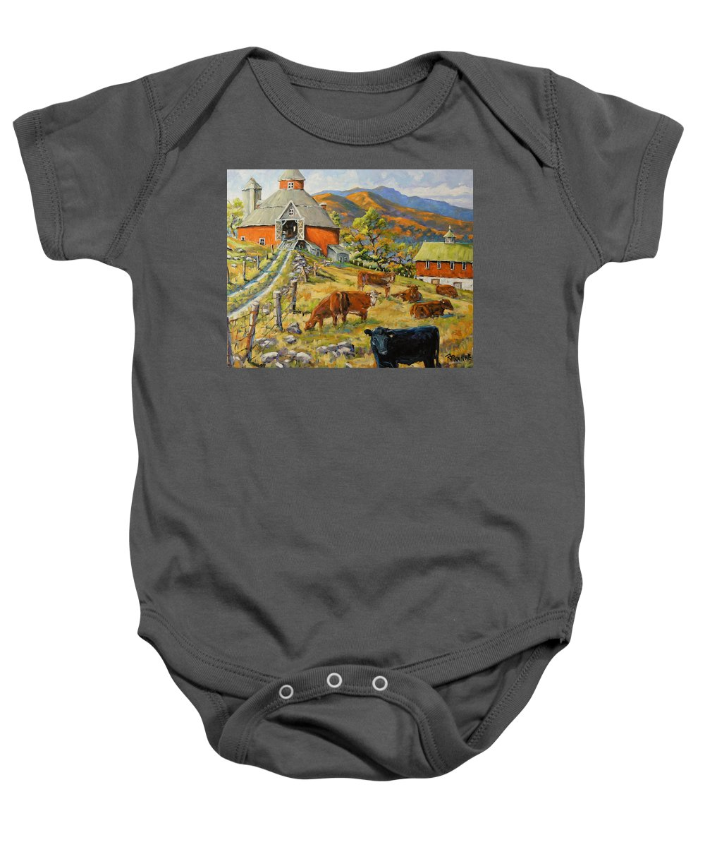 Canadian Artist Painter Baby Onesie featuring the painting Nostalgia Cows Painting By Prankearts by Richard T Pranke