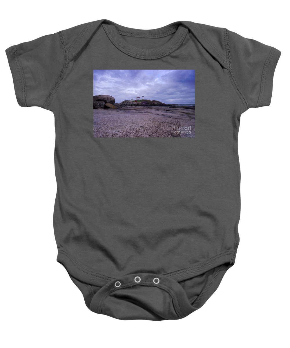 Lighthouse Baby Onesie featuring the photograph Nubble Lighthouse At Dusk Maine Usa by Sabine Jacobs