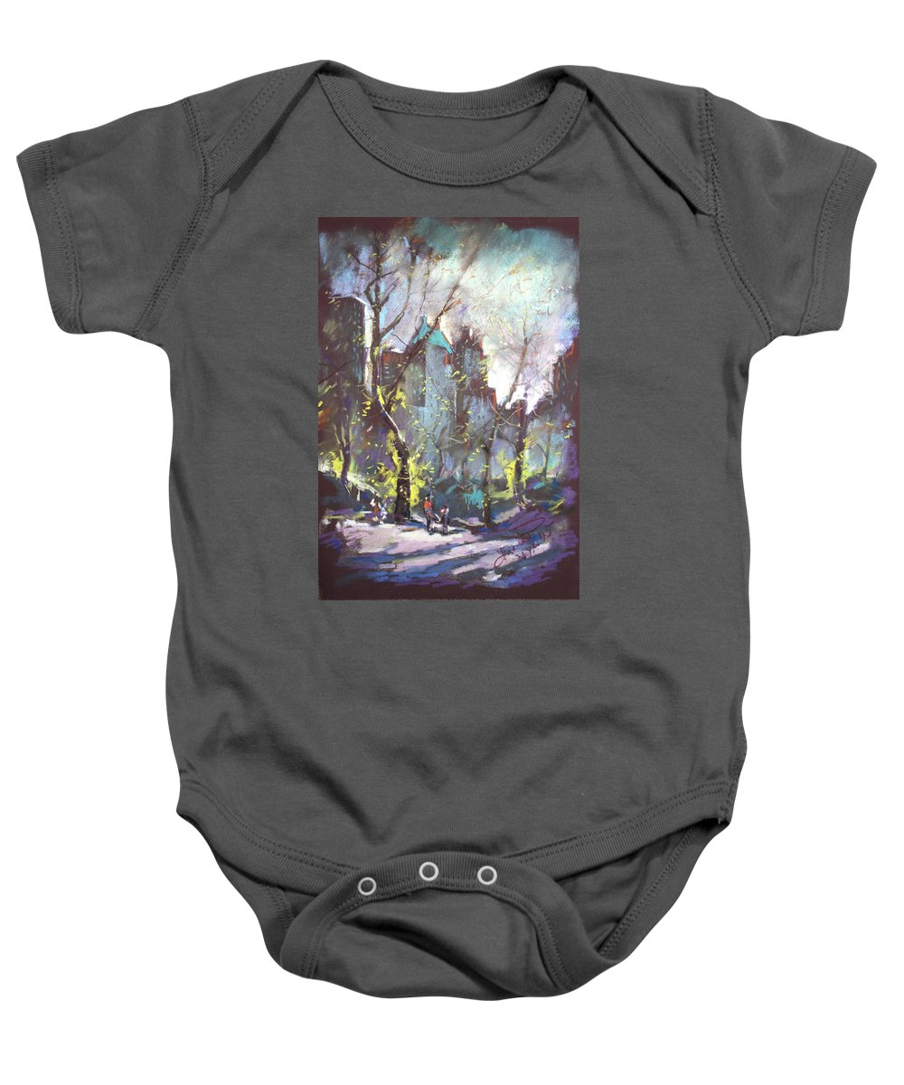 Ny City Baby Onesie featuring the pastel Nyc Central Park Controluce by Ylli Haruni