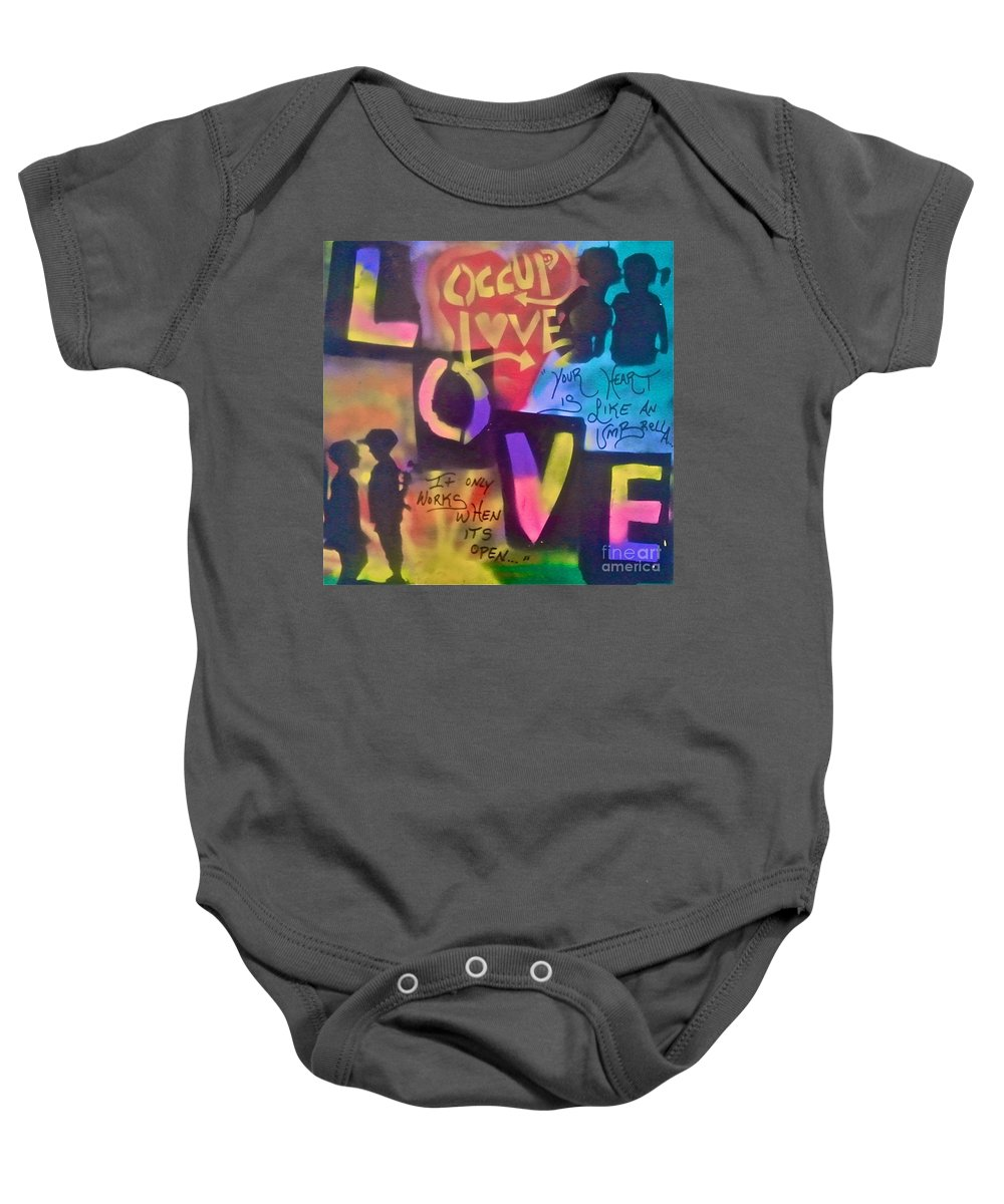 Love Paintings Baby Onesie featuring the painting Occupy Love Open Heart by Tony B Conscious