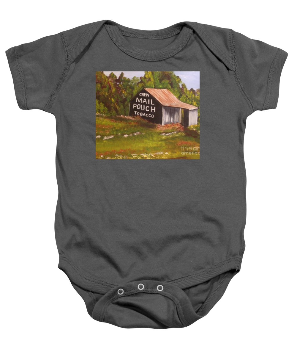 Landscape Baby Onesie featuring the painting Ohio Mail Pouch Barn by Evelyn Froisland